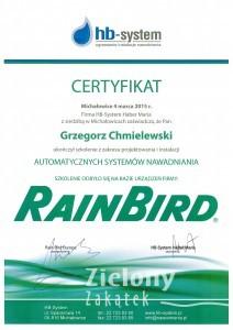 certyfikat -systemy automatycznego nawadniania GC