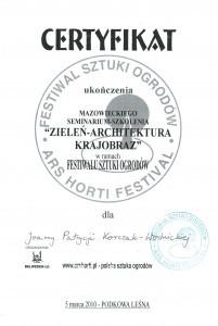 certyfikat zieleń- architektura- krajobraz